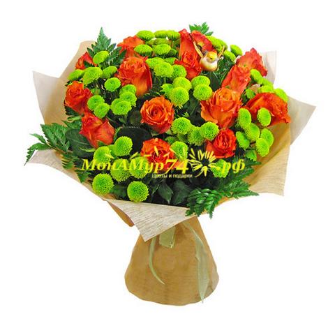 Хризантемы букет 17