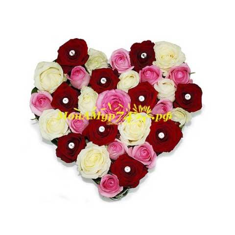 Сердце роз «Люблю тебя!»