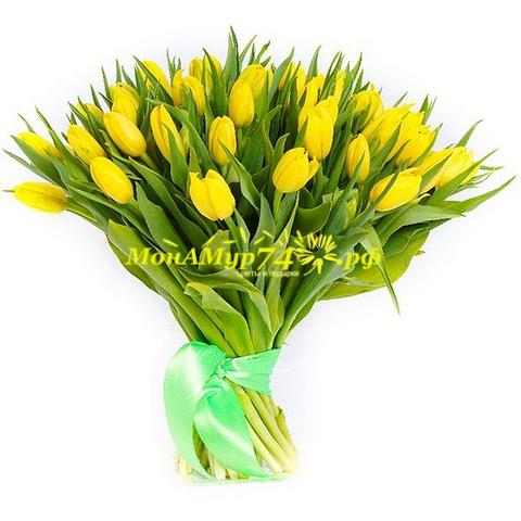 Букет из желтых тюльпанов 51 шт.
