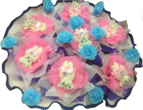 Букет из 7 медвежат «Голубой-розовый»