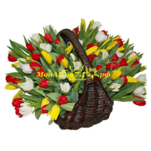 Корзина из 101 тюльпана «Великолепие»